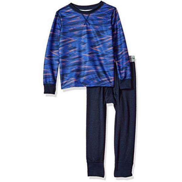 Fruit of the Loom Fruit of the Loom Big Boys Active Performance Thermal Underwear Set, Sharp Stripe Blue, 8 - intl