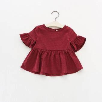 Girl's Short Sleeved Plain Blouse *maroon*(18-24m) ...