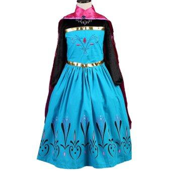 Harga Girls Anna Costume Princess Child Fancy Outfit Party Long DressesWith Crown