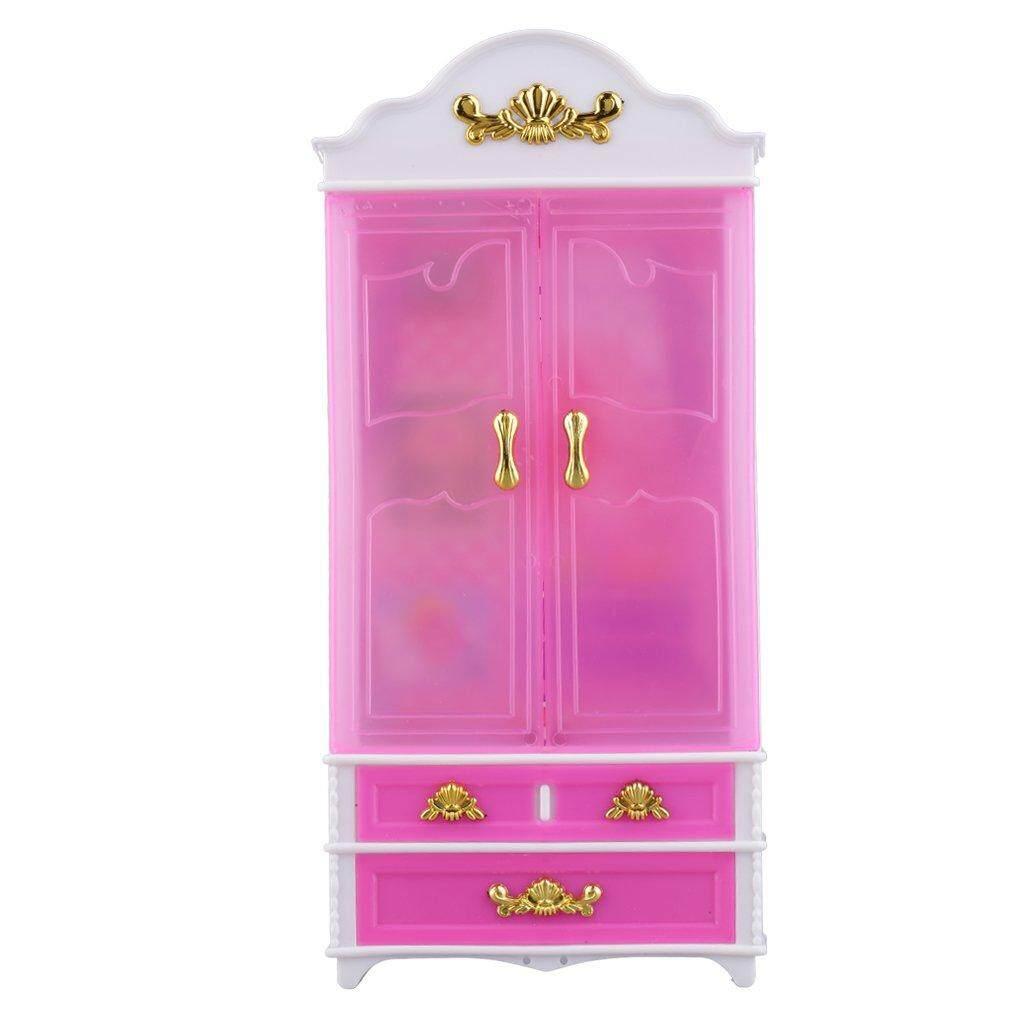 Baik Merah Muda Lemari Lemari untuk Putri Doll Rumah Bedroom Furniture Miniatur Merah Muda-Internasional