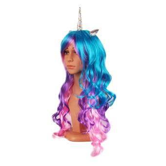 Halloween Colorful Long Curly Wig Rainbow Unicorn Gothic Lolita Cosplay  Race Wig b165500cda