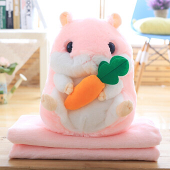 Hamster doll pillow blanket air conditioning was pillow quilt dual folding nap office lunch break blanket coral Velvet