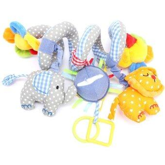 Hanyu Baby Spiral Cot Toys Plush Elephant Infant Toy Blue