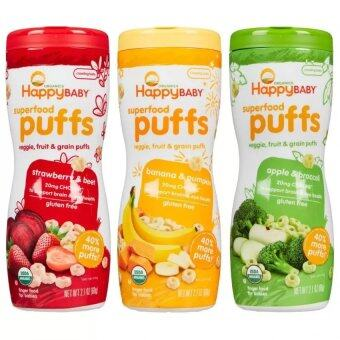 Harga Happy Baby Organic Puffs Mixed 3 Pack (Apple, Banana &Strawberry)