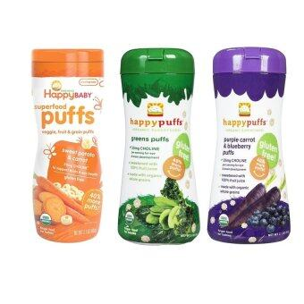 Harga Happy Baby Organic Puffs Mixed 3 Pack (sweet potato,greens,purplecarrot & blueberry)
