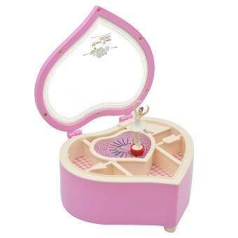 Harga Heart Shaped Dancing Ballerina Music Box Mechanical Musical JewelryBox Girls Kids Christmas Birthday Gift Music Box Pink