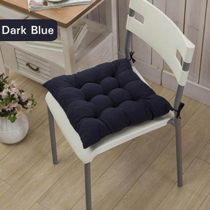 High quality 11 Colors Solid Cotton Seat Pads Chair Cushion Mat With Cord 40*40CM For Patio Home Car Sofa Office Tatami - Navy - intl