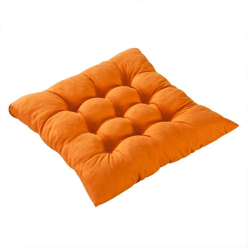 High quality 11 Colors Solid Cotton Seat Pads Chair Cushion Mat With Cord 40*40CM For Patio Home Car Sofa Office Tatami - Orange - intl