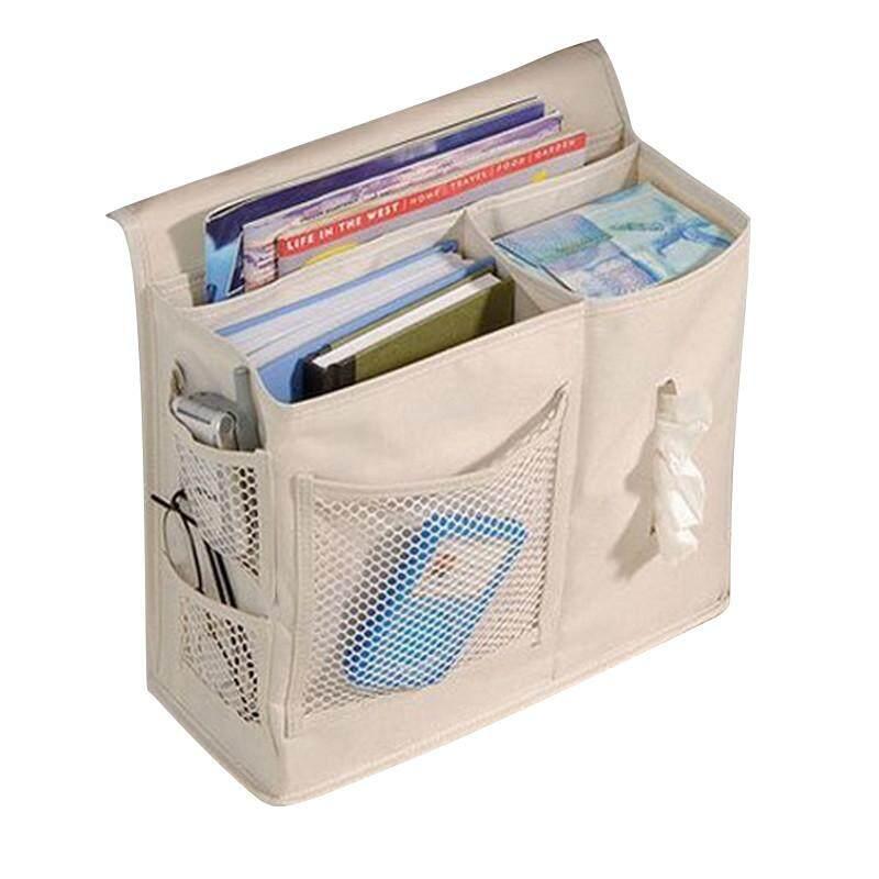 High quality Bedside Storage Bag Hang Sundries ,Magazines, Phone,Tissue Holder Sofa Organizer Book TV Remote Control Caddy - Beige - intl