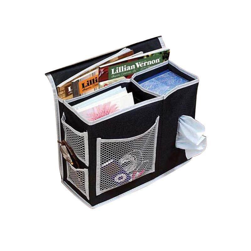 High quality Bedside Storage Bag Hang Sundries ,Magazines, Phone,Tissue Holder Sofa Organizer Book TV Remote Control Caddy - Black - intl