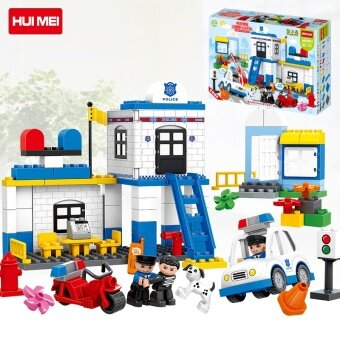 Hui mei building blocks large particles toys childrenassembled-Police Bureau puzzle fight inserted 1-2-3 year old