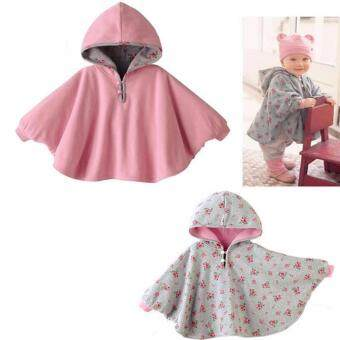 Harga ilovebaby Baby Girl Reversible Hooded Cloak Poncho Jacket OutwearCoat Costume 0-3Year Pink (Intl)
