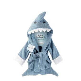 Harga ilovebaby Cute Blue Shark Cotton 0-12 Months Baby Bath Hooded TowelRobe