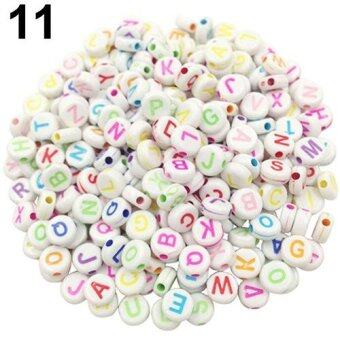 Harga Bluelans 100 Pcs DIY Random Alphabet/Letter Acrylic Cube Spacer Loose Beads Jewelry Making (#11)
