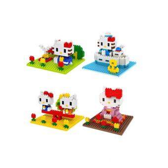 Harga Set of 4 Cute Hello Kitty Loz Nano/Diamond Block Figure [Birthday Gift/Present/DIY]