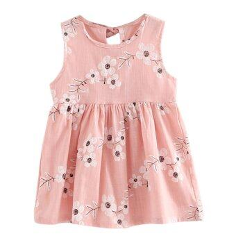 Harga Kids Girls Sleeveless Morning Glory Print Cotton and Linen Dress