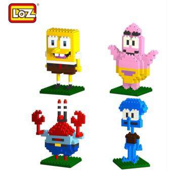 Harga Set of 4 Cute Spongebob SquarePants Series Loz Nano/Diamond Block Figure [Birthday Gift/Present/DIY]