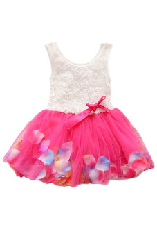 Harga OEM Girls Flower Formal Bow Floral Bridesmaid Dress 3-6Yrs (Rose red)