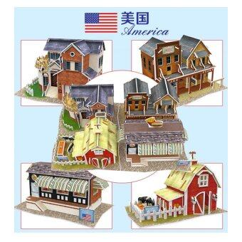 Harga 3D Puzzle - American Architecture Set of 4