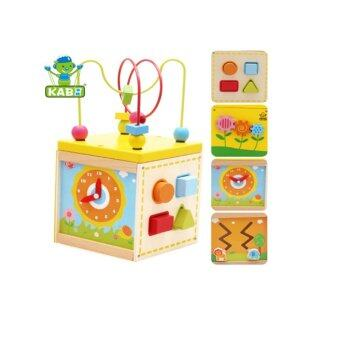 Harga Montessori Bead Maze + Clock + Shapes + Beads Maze Wooden/5 in 1 Learning Cube (1 - 3 years)
