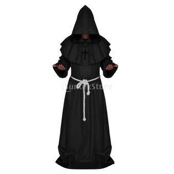 Harga MagiDeal Friar Priest Medieval Hooded Cloak Costume Cosplay S Black