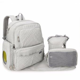 Harga 2017 Europe Nappy backpack Multi Pocket five piece baby diaper bag (White)