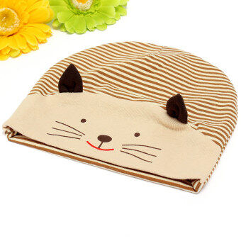 Harga Newborn Baby Girls Boys Cotton Beanie Cap Toddler Cute Cat Soft Baggy Stripe Hat (Intl) NEW