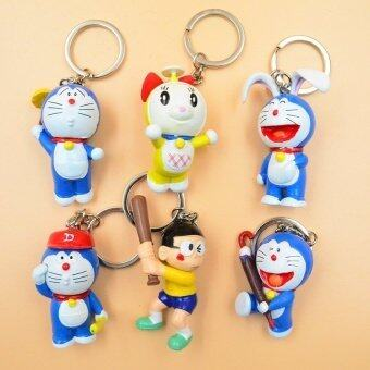 Harga 6pcs/set Assorted Doraemon Baseball Nobita Nobi Action Figures with Key Rings Children Gift