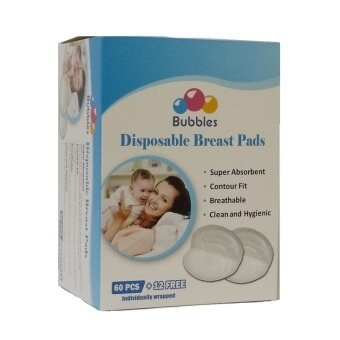 Harga Bubbles Disposable Breastpads 72 's (60 pcs Free 12 pcs) individual pack nursing breast pad