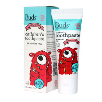 Harga Buds for Kids Children's Toothpaste with Fluoride (3-12 Yrs Old) - 50ML Strawberry