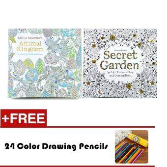 Harga 2 Pcs 24 Photos Adults Children Graffiti Book Animal Kingdom And Secret Garden Colouring