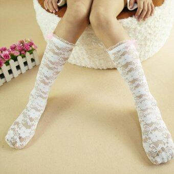 Harga 1 Pairs Girls Lace Socks Comfy Cotton Hollow Long Sock for 1-6yrs (Color:White)