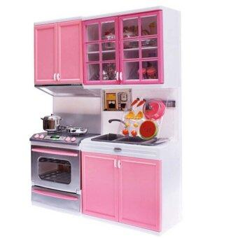 Harga Pink Sale Kid Kitchen Fun Toy Pretend Play Cook Cooking Cabinet Stove Set Toy