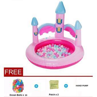 Harga Pink Castle Padding Pool - Free Ball + FREE PATCH + HAND PUMP