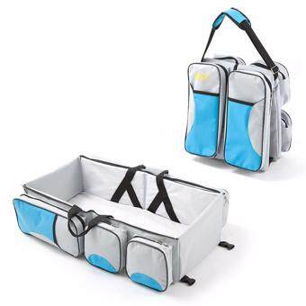 Harga Hanyu Portable Baby Cribs Newborn Travel Sleep Safety Bag Infant Travel Bed Cot Bags Portable Folding Baby Bed Mummy Bags-Light gray blue