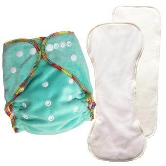 Harga Soft Minky baby Cloth diapers 1 pcs +2 pcs Inserts One size fits all adjustable