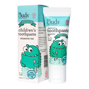 Harga Buds for Kids Children's Toothpaste with Fluoride (3-12 Yrs Old) - 50ML Peppermint