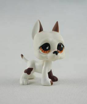 Harga 2 Inch Littlest Pet Shop LPS 750 White Brown Great Dane Dog Puppy Brown Eyes Girl Toys