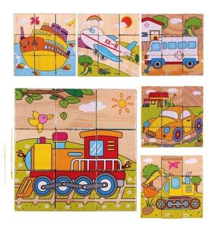 Harga Wooden 3D Puzzle Block Toy Early Educational Kid Child Gift 6 Sided blocks - Transport