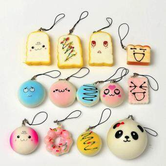 Harga 13PCS Kawaii Squishy Lot Toast Bread Phone Strap