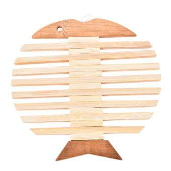 Harga Wooden Placemat Insulation Mat Round Fashion Cartoon Kitchen Accessory Fish
