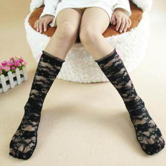 Harga 1 Pairs Girls Lace Socks Comfy Cotton Hollow Long Sock for 1-6yrs (Color:Black)