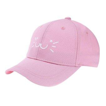 Harga Cute Cat Smiling Face Snapback Hat Unisex Baby Baseball Cap Sun Hats(Pink)