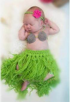 Harga MG Baby 3 Pieces Photo Prop Costume Photography Prop Knitted Crochet Headband Bra and Skirt Set (Green)