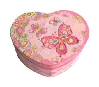 Harga Pecoware / Heart-shaped Musical Jewellery Box, Fancy Butterfly