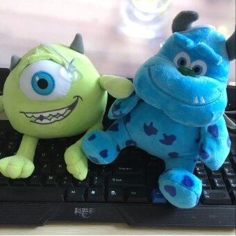 Harga 2pcs/set 20cm Monsters Inc Monsters University Monster Mike Wazowski+James P. Sullivan Plush Toy for Kids Gift Free Shipping