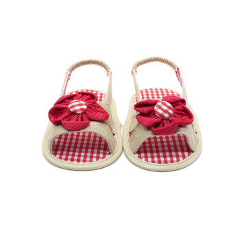 Harga Summer Cool Newborn Baby Shoes Unique Red Flowers Baby Girl Shoes Canvas Gingham First Baby Shoes