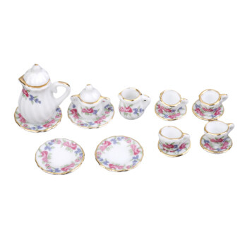 Harga Miniature Ware Porcelain Tea Set Dish Cup Plate Morning Glory 15pc