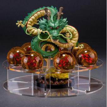 Harga leegoal Collectable Shenron And Dragon Ball Set: 1 Pc Plastic Figure Dragon Shenlong + 7 Pcs Crystal Balls 1.7 Inch Diameter 3D Stars + 1 Pc Acrylic Shelf, Augury Balls