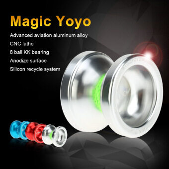 Harga Professional Magic Yoyo T6 Rainbow Aluminum Alloy Metal Yoyo 8 Ball KK Bearing with String Silver